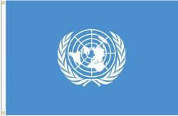 UNITED NATIONS LARGE 3' X 5' FEET FLAG BANNER .. NEW AND IN A PACKAGE