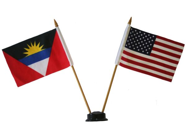 "ANTIGUA - BARBUDA & USA SMALL 4"" X 6"" INCHES MINI DOUBLE COUNTRY STICK FLAG BANNER ON A 10 INCHES PLASTIC POLE .. NEW AND IN A PACKAGE"