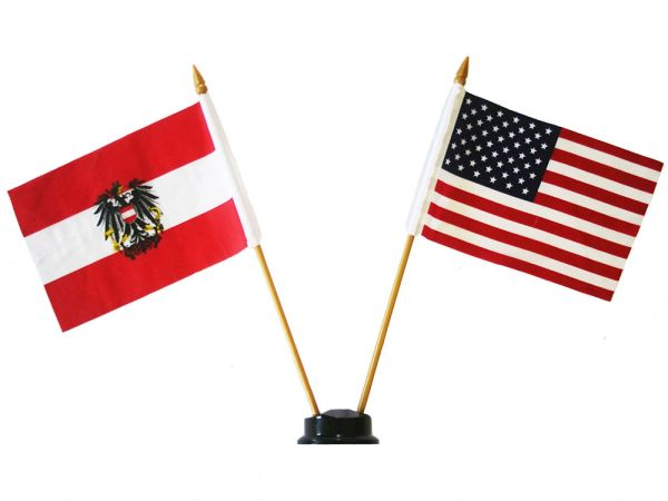 "AUSTRIA WITH EAGLE & USA SMALL 4"" X 6"" INCHES MINI DOUBLE COUNTRY STICK FLAG BANNER ON A 10 INCHES PLASTIC POLE .. NEW AND IN A PACKAGE"