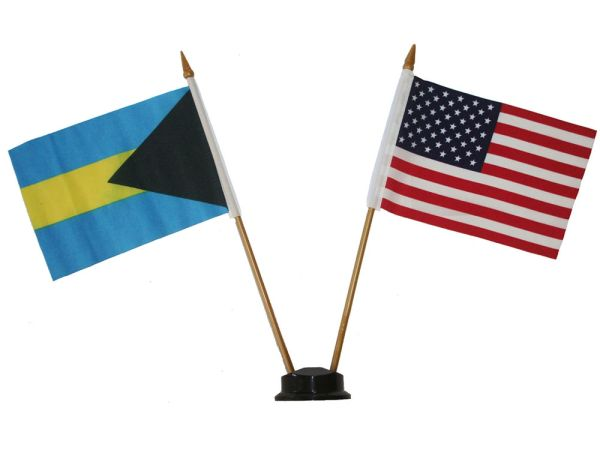 "BAHAMAS & USA SMALL 4"" X 6"" INCHES MINI DOUBLE COUNTRY STICK FLAG BANNER ON A 10 INCHES PLASTIC POLE .. NEW AND IN A PACKAGE"