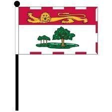 """PRINCE EDWARD ISLAND 4"""" X 6"""" INCHES MINI CANADIAN PROVINCE STICK FLAG BANNER ON A 10 INCHES PLASTIC POLE .. NEW AND IN A PACKAGE."""