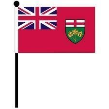 "ONTARIO 4"" X 6"" INCHES MINI CANADIAN PROVINCE STICK FLAG BANNER ON A 10 INCHES PLASTIC POLE .. NEW AND IN A PACKAGE"