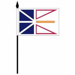 """NEWFOUNDLAND & LABRADOR 4"""" X 6"""" INCHES MINI CANADIAN PROVINCE STICK FLAG BANNER ON A 10 INCHES PLASTIC POLE .. NEW AND IN A PACKAGE."""