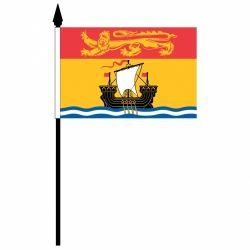 "NEW BRUNSWICK 4"" X 6"" INCHES MINI CANADIAN PROVINCE STICK FLAG BANNER ON A 10 INCHES PLASTIC POLE .. NEW AND IN A PACKAGE."
