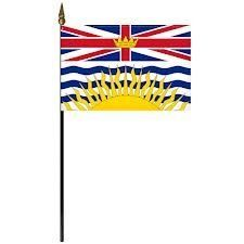 "BRITISH COLUMBIA 4"" X 6"" INCHES MINI CANADIAN PROVINCE STICK FLAG BANNER ON A 10 INCHES PLASTIC POLE .. NEW AND IN A PACKAGE."