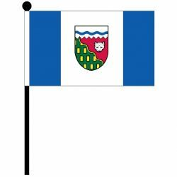 """NORTHWEST 4"""" X 6"""" INCHES MINI CANADIAN TERRITORIES STICK FLAG BANNER ON A 10 INCHES PLASTIC POLE .. NEW AND IN A PACKAGE."""