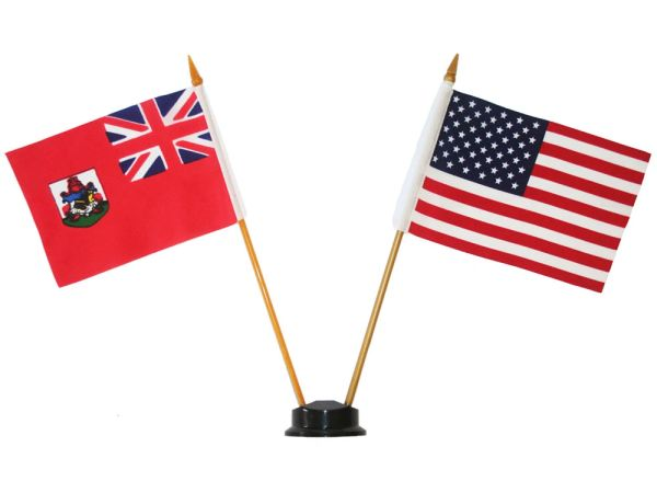 "BERMUDA & USA SMALL 4"" X 6"" INCHES MINI DOUBLE COUNTRY STICK FLAG BANNER ON A 10 INCHES PLASTIC POLE .. NEW AND IN A PACKAGE"