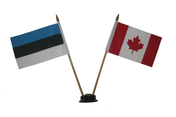 "ESTONIA & CANADA SMALL 4"" X 6"" INCHES MINI DOUBLE COUNTRY STICK FLAG BANNER ON A 10 INCHES PLASTIC POLE .. NEW AND IN A PACKAGE"