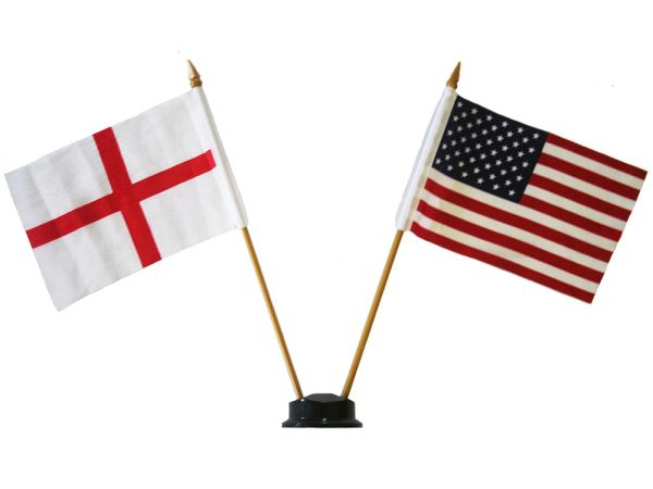 "ENGLAND & USA SMALL 4"" X 6"" INCHES MINI DOUBLE COUNTRY STICK FLAG BANNER ON A 10 INCHES PLASTIC POLE .. NEW AND IN A PACKAGE"