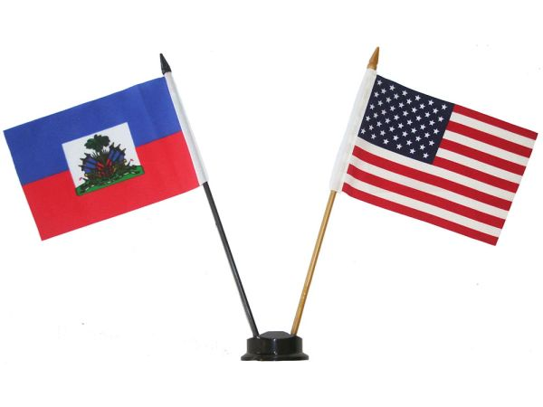"HAITI & USA SMALL 4"" X 6"" INCHES MINI DOUBLE COUNTRY STICK FLAG BANNER ON A 10 INCHES PLASTIC POLE .. NEW AND IN A PACKAGE"