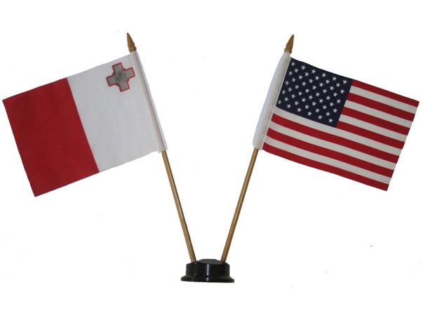 "MALTA & USA SMALL 4"" X 6"" INCHES MINI DOUBLE COUNTRY STICK FLAG BANNER ON A 10 INCHES PLASTIC POLE .. NEW AND IN A PACKAGE"