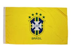 BRASIL 5 STARS CBF LOGO 3' X 5' FEET FIFA SOCCER WORLD CUP FLAG BANNER .. NEW AND IN A PACKAGE