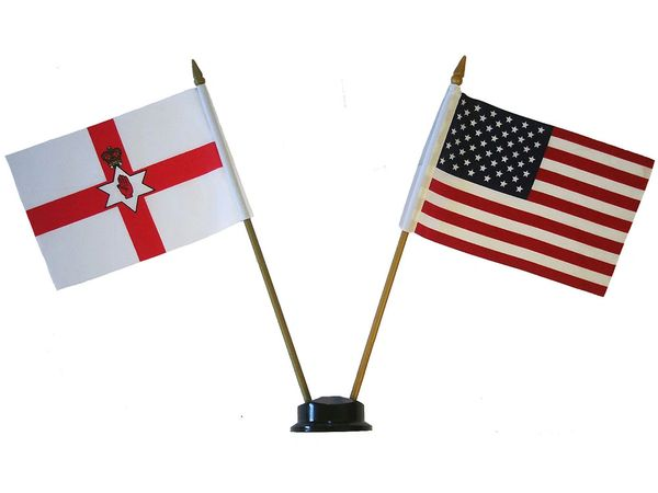 """NORTHERN IRELAND & USA SMALL 4"""" X 6"""" INCHES MINI DOUBLE COUNTRY STICK FLAG BANNER ON A 10 INCHES PLASTIC POLE .. NEW AND IN A PACKAGE"""