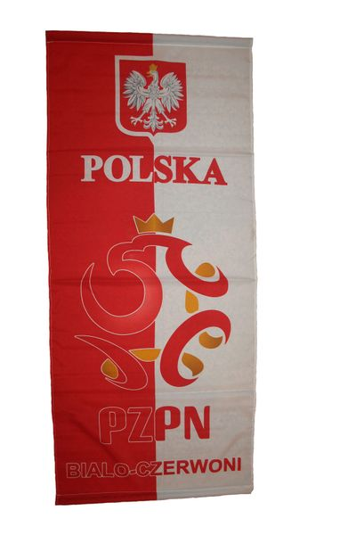 "POLSKA POLAND PZRN BIALO - CZEWONI LOGO 46"" X 20"" INCHES FIFA SOCCER WORLD CUP FLAG BANNER .. NEW AND IN A PACKAGE"