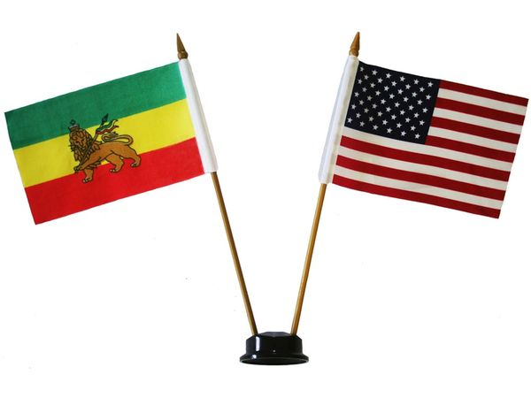 "ETHIOPIA WITH LION & USA SMALL 4"" X 6"" INCHES MINI DOUBLE COUNTRY STICK FLAG BANNER ON A 10 INCHES PLASTIC POLE .. NEW AND IN A PACKAGE"
