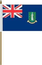 "BRITISH VIRGIN ISLANDS 4"" X 6"" INCHES MINI COUNTRY STICK FLAG BANNER ON A 10 INCHES PLASTIC POLE .. NEW AND IN A PACKAGE."