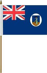 "MONTSERRAT 4"" X 6"" INCHES MINI COUNTRY STICK FLAG BANNER ON A 10 INCHES PLASTIC POLE .. NEW AND IN A PACKAGE."