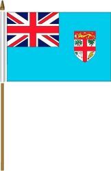 """FIJI 4"""" X 6"""" INCHES MINI COUNTRY STICK FLAG BANNER ON A 10 INCHES PLASTIC POLE .. NEW AND IN A PACKAGE."""