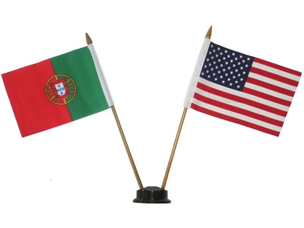 "PORTUGAL & USA SMALL 4"" X 6"" INCHES MINI DOUBLE COUNTRY STICK FLAG BANNER ON A 10 INCHES PLASTIC POLE .. NEW AND IN A PACKAGE"
