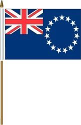 "COOK ISLANDS 4"" X 6"" INCHES MINI COUNTRY STICK FLAG BANNER ON A 10 INCHES PLASTIC POLE .. NEW AND IN A PACKAGE."