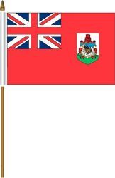 """BERMUDA 4"""" X 6"""" INCHES MINI COUNTRY STICK FLAG BANNER ON A 10 INCHES PLASTIC POLE .. NEW AND IN A PACKAGE."""