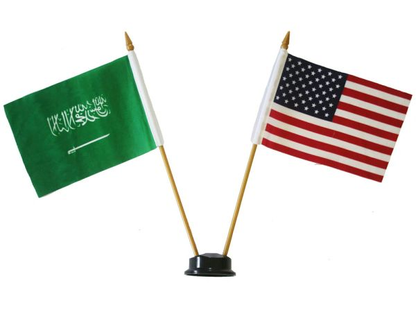 "SAUDI ARABIA & USA SMALL 4"" X 6"" INCHES MINI DOUBLE COUNTRY STICK FLAG BANNER ON A 10 INCHES PLASTIC POLE .. NEW AND IN A PACKAGE"