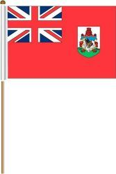 """BERMUDA LARGE 12"""" X 18"""" INCHES COUNTRY STICK FLAG ON 2 FOOT WOODEN STICK .. NEW AND IN A PACKAGE."""