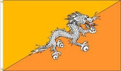 BHUTAN LARGE 3' X 5' FEET COUNTRY FLAG BANNER .. NEW AND IN A PACKAGE