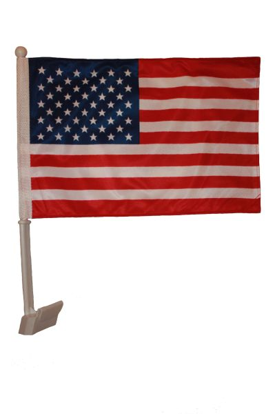 "USA 12"" X 18"" INCHES COUNTRY HEAVY DUTY WITH STICK CAR FLAG .. NEW AND IN A PACKAGE"