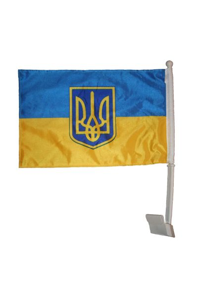 "UKRAINE WITH TRIDENT 12"" X 18"" INCHES COUNTRY HEAVY DUTY WITH STICK CAR FLAG .. NEW AND IN A PACKAGE"