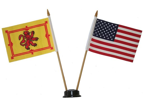 """SCOTLAND WITH LION & USA SMALL 4"""" X 6"""" INCHES MINI DOUBLE COUNTRY STICK FLAG BANNER ON A 10 INCHES PLASTIC POLE .. NEW AND IN A PACKAGE"""