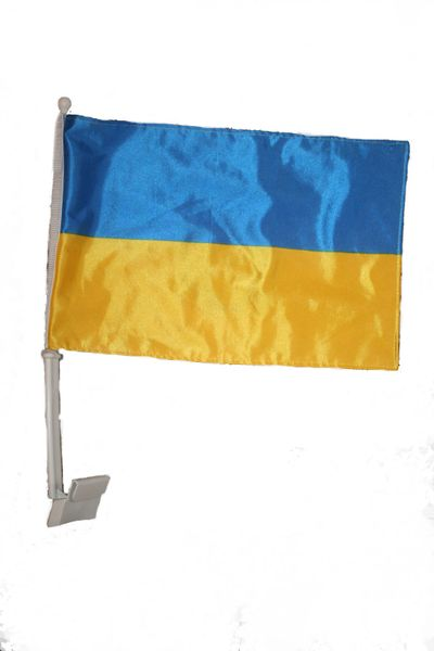 "UKRAINE 12"" X 18"" INCHES COUNTRY HEAVY DUTY WITH STICK CAR FLAG .. NEW AND IN A PACKAGE"