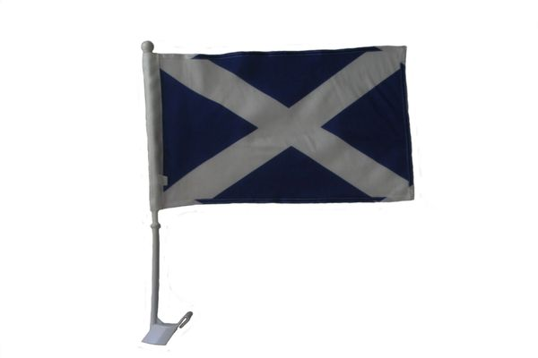 """SCOTLAND - ST. ANDREW 12"""" X 18"""" INCHES COUNTRY HEAVY DUTY WITH STICK CAR FLAG .. NEW AND IN A PACKAGE"""