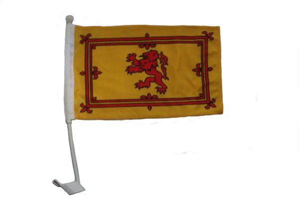 "SCOTLAND WITH LION 12"" X 18"" INCHES COUNTRY HEAVY DUTY WITH STICK CAR FLAG .. NEW AND IN A PACKAGE"