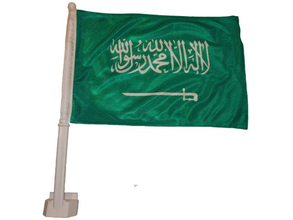 "SAUDI ARABIA 12"" X 18"" INCHES COUNTRY HEAVY DUTY WITH STICK CAR FLAG .. NEW AND IN A PACKAGE"