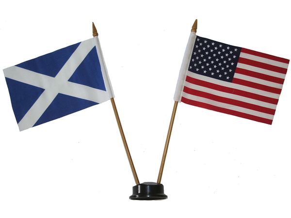 "SCOTLAND - ST. ANDREW & USA SMALL 4"" X 6"" INCHES MINI DOUBLE COUNTRY STICK FLAG BANNER ON A 10 INCHES PLASTIC POLE .. NEW AND IN A PACKAGE"