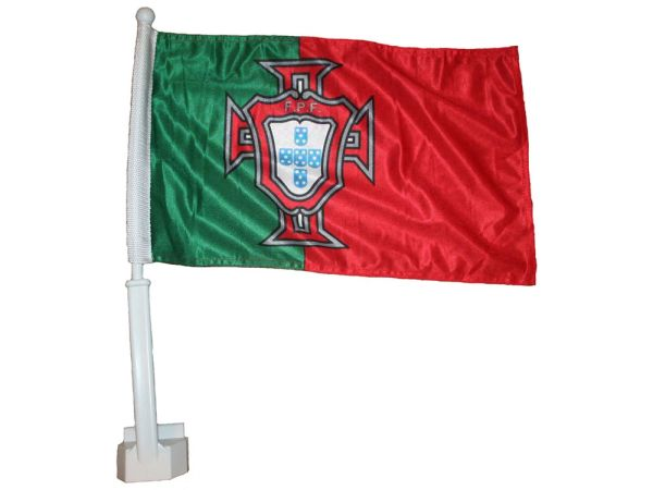 "PORTUGAL GREEN RED 12"" X 18"" INCHES FPF LOGO FIFA SOCCER WORLD CUP HEAVY DUTY WITH STICK CAR FLAG .. NEW AND IN A PACKAGE"