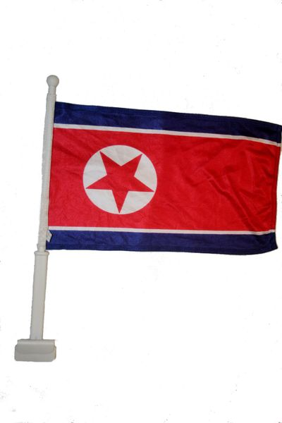 "NORTH KOREA 12"" X 18"" INCHES COUNTRY HEAVY DUTY WITH STICK CAR FLAG .. NEW AND IN A PACKAGE"