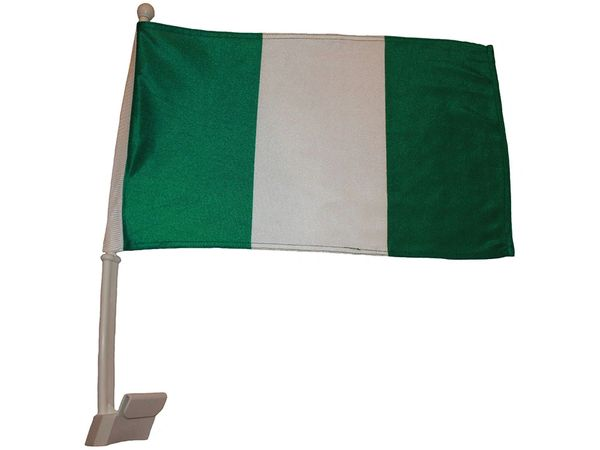 """NIGERIA 12"""" X 18"""" INCHES COUNTRY HEAVY DUTY WITH STICK CAR FLAG .. NEW AND IN A PACKAGE"""