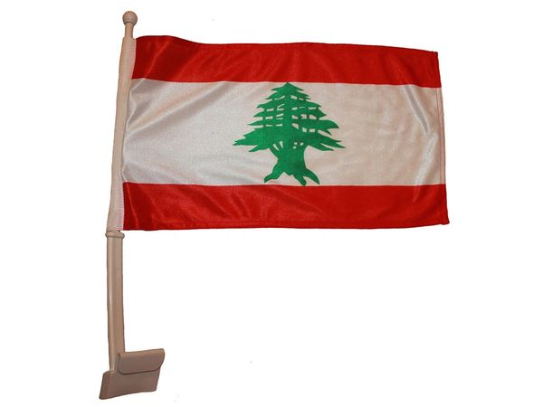 """LEBANON 12"""" X 18"""" INCHES COUNTRY HEAVY DUTY WITH STICK CAR FLAG .. NEW AND IN A PACKAGE"""