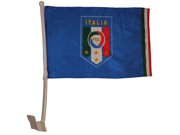 "ITALIA ITALY 12"" X 18"" INCHES FIGC LOGO FIFA SOCCER WORLD CUP HEAVY DUTY WITH STICK CAR FLAG .. NEW AND IN A PACKAGE"