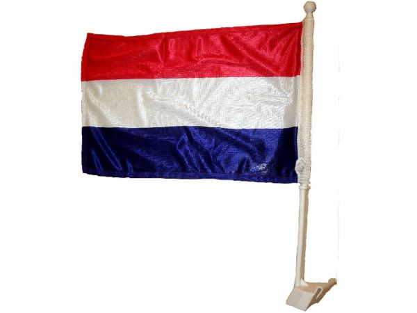 """NETHERLANDS HOLLAND 12"""" X 18"""" INCHES COUNTRY HEAVY DUTY WITH STICK CAR FLAG .. NEW AND IN A PACKAGE"""