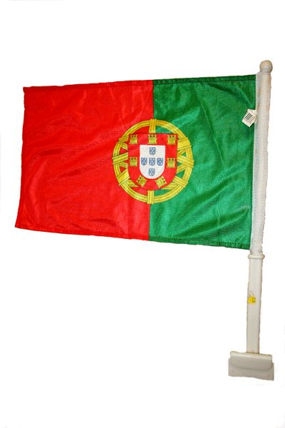 "PORTUGAL 12"" X 18"" INCHES COUNTRY HEAVY DUTY WITH STICK CAR FLAG .. NEW AND IN A PACKAGE"