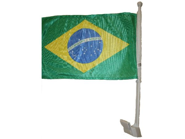 "BRASIL 12"" X 18"" INCHES COUNTRY HEAVY DUTY WITH STICK CAR FLAG .. NEW AND IN A PACKAGE"