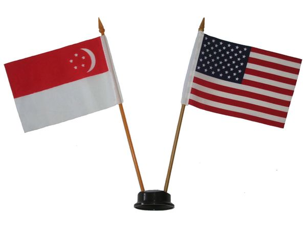 "SINGAPORE & USA SMALL 4"" X 6"" INCHES MINI DOUBLE COUNTRY STICK FLAG BANNER ON A 10 INCHES PLASTIC POLE .. NEW AND IN A PACKAGE"