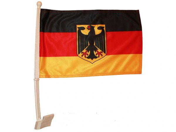 "GERMANY WITH EAGLE 12"" X 18"" INCHES COUNTRY HEAVY DUTY WITH STICK CAR FLAG .. NEW AND IN A PACKAGE"