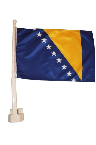 "BOSNIA & HERZEGOVINA 12"" X 18"" INCHES COUNTRY HEAVY DUTY WITH STICK CAR FLAG .. NEW AND IN A PACKAGE"