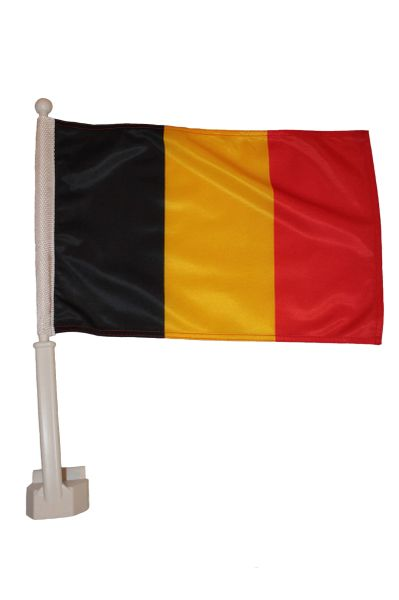 """BELGIUM 12"""" X 18"""" INCHES COUNTRY HEAVY DUTY WITH STICK CAR FLAG .. NEW AND IN A PACKAGE"""