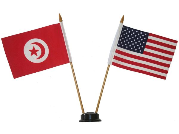 "TUNISIA & USA SMALL 4"" X 6"" INCHES MINI DOUBLE COUNTRY STICK FLAG BANNER ON A 10 INCHES PLASTIC POLE .. NEW AND IN A PACKAGE"