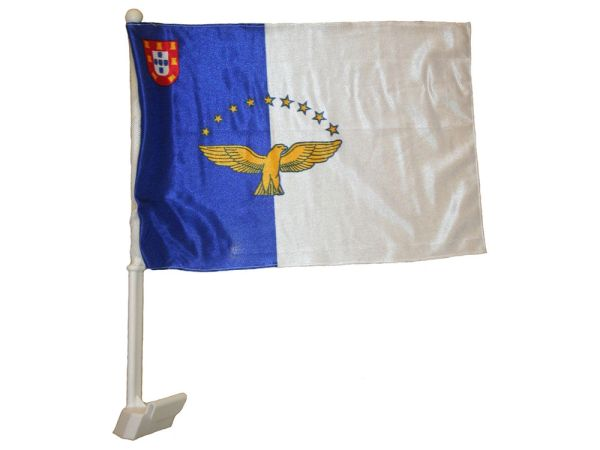 "AZORES 12"" X 18"" INCHES COUNTRY HEAVY DUTY WITH STICK CAR FLAG .. NEW AND IN A PACKAGE"